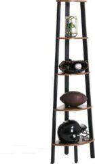 VASAGLE hoeklegbord, boekenkast met 5 legborden in industriële uitvoering, ladderrek met metalen frame, voor woonkamer, kantoor, vintage, donkerbruine
