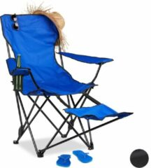 Relaxdays Campingstoel - opvouwbaar - voetensteun - klapstoel - tuinstoel - strandstoel blauw