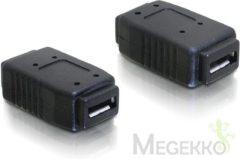 Zwarte DeLOCK Adapter USB micro-A+B female to USB micro-A+B female USB micro-A+B USB micro-A+B Zwart kabeladapter/verloopstukje