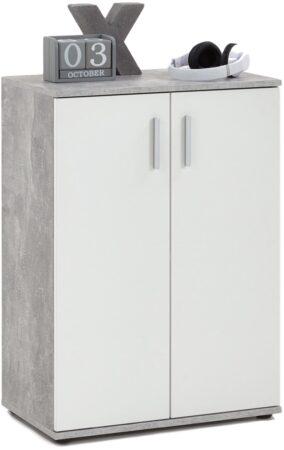 Afbeelding van FD Furniture Opbergkast Albi 83 cm hoog - Grijs beton met wit