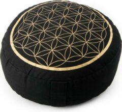 Bloem des Levens Meditatiekussen zwart/goud levensbloem opdruk - Katoen - Boekweit - 33x17 - Zwart - Goud
