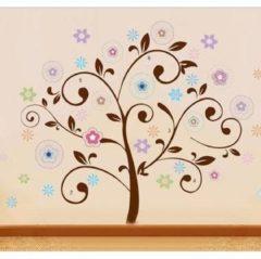 Merkloos / Sans marque Vrolijke Premium Prachtige Muursticker Boom Met Bloemen Tak- Voor Kinderkamer / Babykamer / woonkamer V2