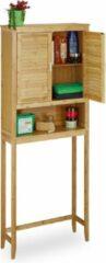 Naturelkleurige Relaxdays wasmachine ombouw LAMELL - badkamerrek bamboe - hoge badkamerkast - ombouwkast