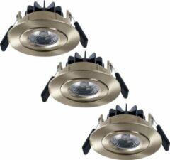 Roestvrijstalen HOFTRONIC™ Set van 3 LED Inbouwspots Salerno Roestvrij staal 8 Watt 2700K IP44 kantelbaar