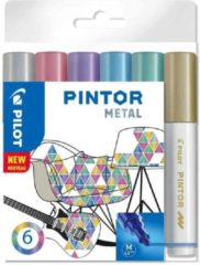 Paarse Pilot Pintor Metallic Verfstiften Set - Metal Set - Medium marker met 4,5mm punt - Inkt op waterbasis - Dekt op elk oppervlak, zelfs de donkerste - Teken, kleur, versier, markeer, schrijf, kalligrafeer…