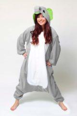 Grijze KIMU Onesies KIMU onesie olifant pak grijs Dombo kostuum - maat L-XL - olifantenpak jumpsuit huispak festival
