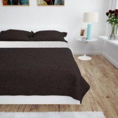 Creme witte VidaXL Bedsprei dubbelzijdig 230x260 cm quilt crème en bruin