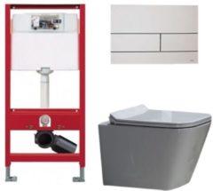 Douche Concurrent Tece Toiletset - Inbouw WC Hangtoilet wandcloset - Alexandria Flatline Rimfree Tece Square Mat Wit