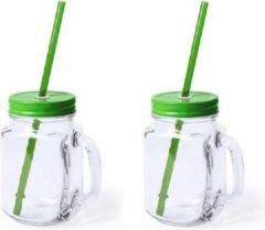 Bellatio Design 2x stuks Glazen Mason Jar drinkbekers groene dop en rietje 500 ml - afsluitbaar/niet lekken/fruit shakes