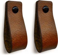 Brute Strength Leren handgrepen - leren handgreep - Cognac - 2 stuks - 16,5 x 2,5 cm | incl. 3 kleuren schroeven voor de hand grepen | handgreepjes | lussen | lusjes | greepjes voor o.a. de keuken, kast, deur etc