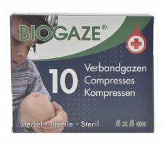 Biogaze Verbandgazen 5 x 5 cm 10 stuks