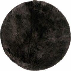 Antraciet-grijze Decor24-OB Extra zacht effen vloerkleed Samba - Rond - Antraciet - O 80 cm