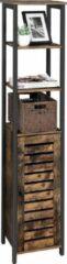 Bruine Vasagle Badkamerkast hout smal design 37x30x167cm | Efficiënte kast met 3 planken en kastdeur | Keukenkast met zacht industrieel design | Gemakkelijk te monteren | Duurzaam en hoogwaardig materiaal | Vintage kast voor woonkamer, slaapkamer, hal