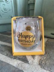Gouden Creaties van hier Wijn - water glas / Happy birthday enjoy life / wijnglas / waterglas / leuke tekst / moederdag / vaderdag / verjaardag / cadeau