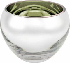 Rawa Geschenken Luxe waxinelicht houder sicore glas - Camo groen gekleurd en zilver - kaarshouder glas- kaarstandaard mondgeblazen