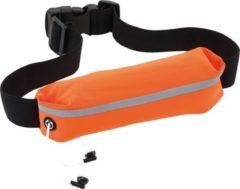 Merkloos / Sans marque Oranje hardloop heuptasje/buideltasje 24 x 4,2 cm - Reflecterend - Spatwaterdicht - Oranje heuptassen/fanny pack voor op reis/onderweg