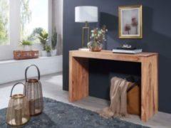 Wohnling Konsolentisch MUMBAI Massivholz Akazie Konsole Schreibtisch 115 x 40 cm Landhaus-Stil Arbeits-tisch Naturholz modern
