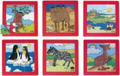 Rolf Puzzelserie Dierentuindieren - 6 puzzels van 9 vierkante stukjes (19x19 cm) - kunststof puzzels met dieren - voor kinderen vanaf 3 jaar