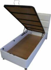 Zaanse Bedden 1persoons Boxspring met opbergruimte – Compleet 1persoons Boxspring 90x200 inclusief Koudschuim HR45 matras wit