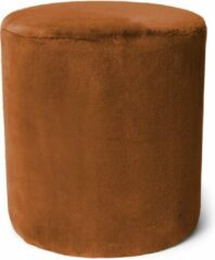 Bruine ESSENZA Furry Poef Leather Brown - Rond