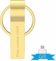 Grijze Revamp USB 3.0 64GB flash drive metallic goud met verloopstuk naar mini USB -C