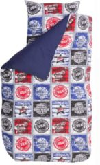 BINK Bedding Baseball dekbedovertrek - 100% katoen - Junior (120x150 cm + 1 sloop) - 1 stuk (60x70 cm) - Blauw, Marine
