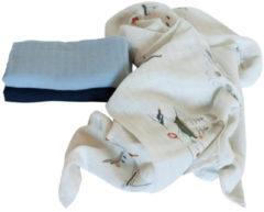 Blauwe Sebra Hydrofiele doeken set van drie - seven seas