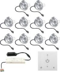 Grijze HOFTRONIC™ LED inbouwspot set Granada 10x3W dim-/kantelbaar IP44 vochtbestendig incl. Touch muurdimmer en afstandsbediening