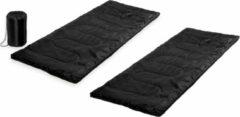 Merkloos / Sans marque Set van 2x stuks zwarte kampeer 1 persoons slaapzakken dekenmodel 75 x 185 cm - Kamperen en outdoor artikelen kampeerslaapzakken