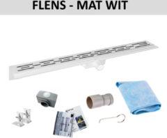 Wiesbaden Mat Wit RVS Douchegoot Flens met Uitneembaar Sifon MAT WIT (alle maten)