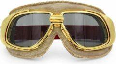 Ediors retro goud, beige leren motorbril | Donker / Smoke
