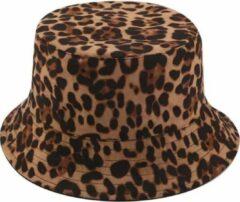 Donkerbruine Junglestories Bucket hat Panterprint Omkeerbaar luipaardprint panter hoed hoedje regenhoed