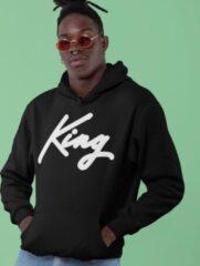 Zwarte B&C Collection King & Queen Hoodie Black (King - Maat S)