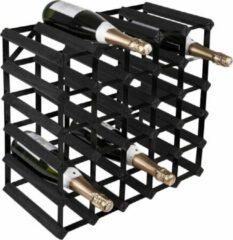 Zwarte RTA Wineracks - Wijnrek Black steel - Black ash - 30 Bottle Assembled 6x4