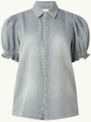 Licht-grijze Ba&sh Chemise blouse van denim met rushes