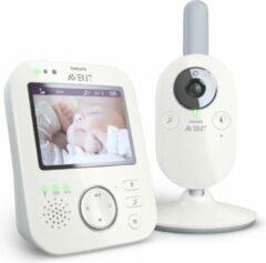 Witte Philips AVENT SCD843/26 Video-Babyphone, 3,5 Zoll Farbdisplay, Eco-Mode, Gegensprechfunktion, Nachtlicht, weiß-grau