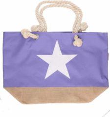 Lila paarse strandtas met witte ster 55 cm - Strandtassen/schoudertassen - Shoppers/zomer tassen
