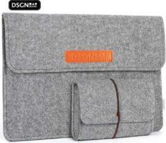 DSGN Laptop Sleeve met Etui 14 inch - Vilten Laptop & MacBook Hoes - Laptophoes - Laptoptas - Laptop Cover Case -Vilt - Extra vakken - Handtas - Grijs