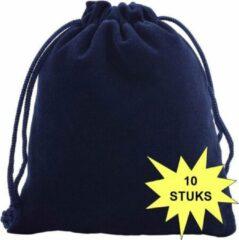 Fako Bijoux® - Cadeau Zakjes - Velours - 10x12cm - Donkerblauw - 10 Stuks