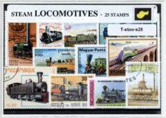 Transparante KLOMP G.T.P Stoomlocomotieven - postzegelpakket cadeau met 25 verschillende postzegels