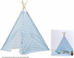 Tipi Tent kinderen driehoek print - Blauw - Wigwam - Playfun - 120 x 120 x 150 cm - Voordeelset