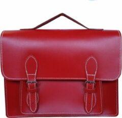 Fana Bags Schooltas Rood - Leren Handtas/Aktetas - Volledig Leer - Gespsluiting - Old School Bag - A4 formaat