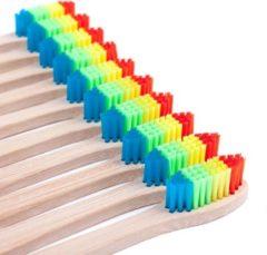 Bruine Davim Bamboe Tandenborstel - Regenboog kleuren - 10 Stuks - Recyclebaar en Biologisch Afbreekbaar - Zacht / Medium