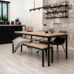 """Zwarte Oost & Dijk Interieur Industriële eettafel + bank hout en metaal """"Tulsa"""" - 200 x 100 x 75 cm"""