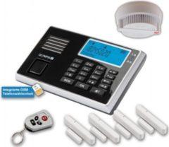 OLYMPIA Protect 9060 Drahtloses GSM Alarmanlagen-Set mit 4 Tür-/Fensterkontakten und Rauchmelder