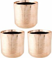 Cosy @ Home 3x Koperen ronde plantenpotten/bloempotten Cerchio 13 cm keramiek - Plantenpot/bloempot metallic koper - Woonaccessoires