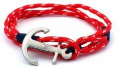 MR. JACOB Ioke rood-witte ankerarmband
