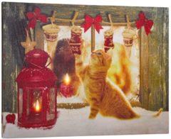 LED Bild Katze im Schnee Tewa mehrfarbig