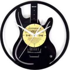 Zwarte Yesterdays Vinyl Vinyl Wandklok Gitaar - LP-Klok - 12 inch - 30 CM