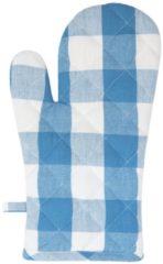 Clayre & Eef | Ovenhandschoen | Blauw | 100% Katoen | ruit | CFA44BL